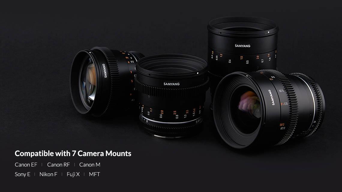 Samyang VDSLR 24mm T1.5 MK2 Lens (For Canon EF, Canon RF, Sony E, Nikon F, Canon M, Fuji X, M4/3) - Most Popular Focal Lengths in 7 Camera Mounts