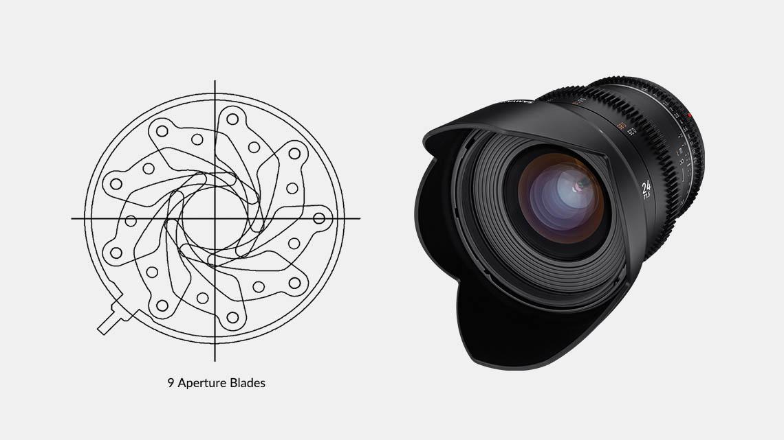 Samyang VDSLR 24mm T1.5 MK2 Lens - New: 9 Aperture Blades for Exceptional Bokeh and Starburst Effect