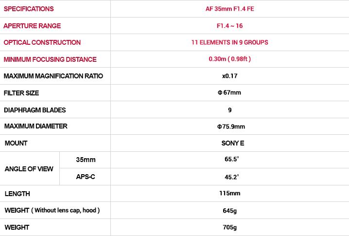 Samyang AF 35mm F1.4 FE Lens (for Sony E-mount) - Specifications