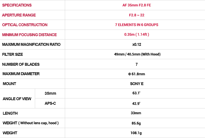 Samyang AF 35mm F2.8 FE Lens (for Sony E-mount) - Specifications