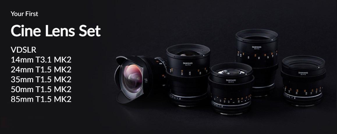 Samyang VDSLR MK2 Cine Lens Set - 14mm T3.1 MK2, 24mm T1.5 MK2, 35mm T1.5 MK2, 50mm T1.5 MK2, 85mm T1.5 MK2